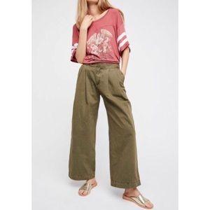 Free People Green Wide Leg Liberty Pants Size 2